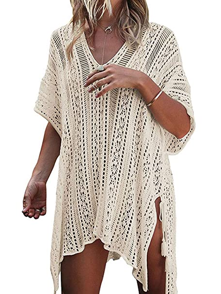 1ada2cb154 Womens Summer Swimsuit Beach Cover Up Bathing Suits Cover Ups Swimwear  Coverups V-Neck Hollow