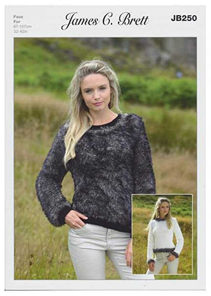 39757578acad James Brett Faux Fur   Chunky Knitting Pattern Women s Long Sleeved Sweater  With Trim (JB250)  Amazon.co.uk  Kitchen   Home