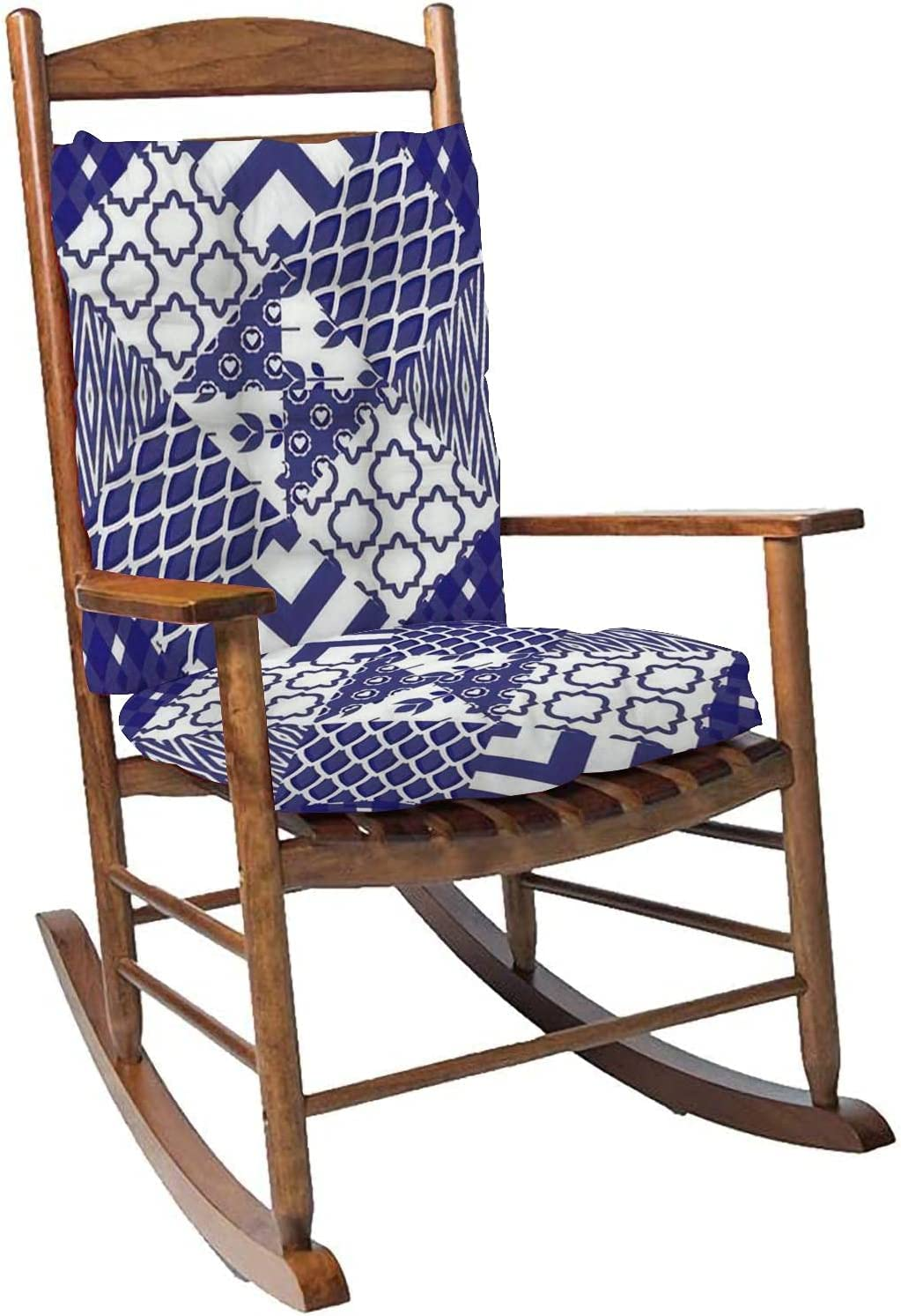 Rocking Chair Cushion Pad Set with Ties Patchwork Quilt Pattern Tiles Blue Indigo and White Portuguese Overstuffed Thickened Patio Chair Cushions Indoor Outdoor Furniture Seating 2 Pieces
