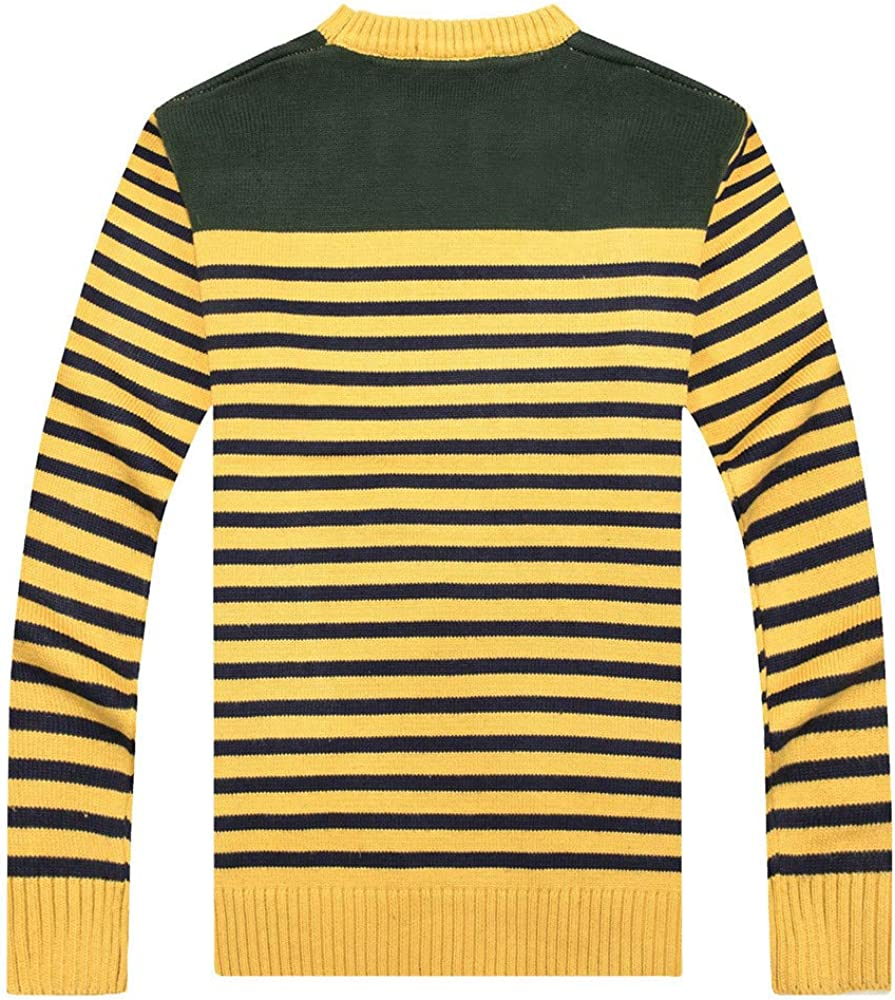 NREALY Sweater Mens Autumn and Winter New Striped Knitted Sweater Casual Fashion Trend Undershirt