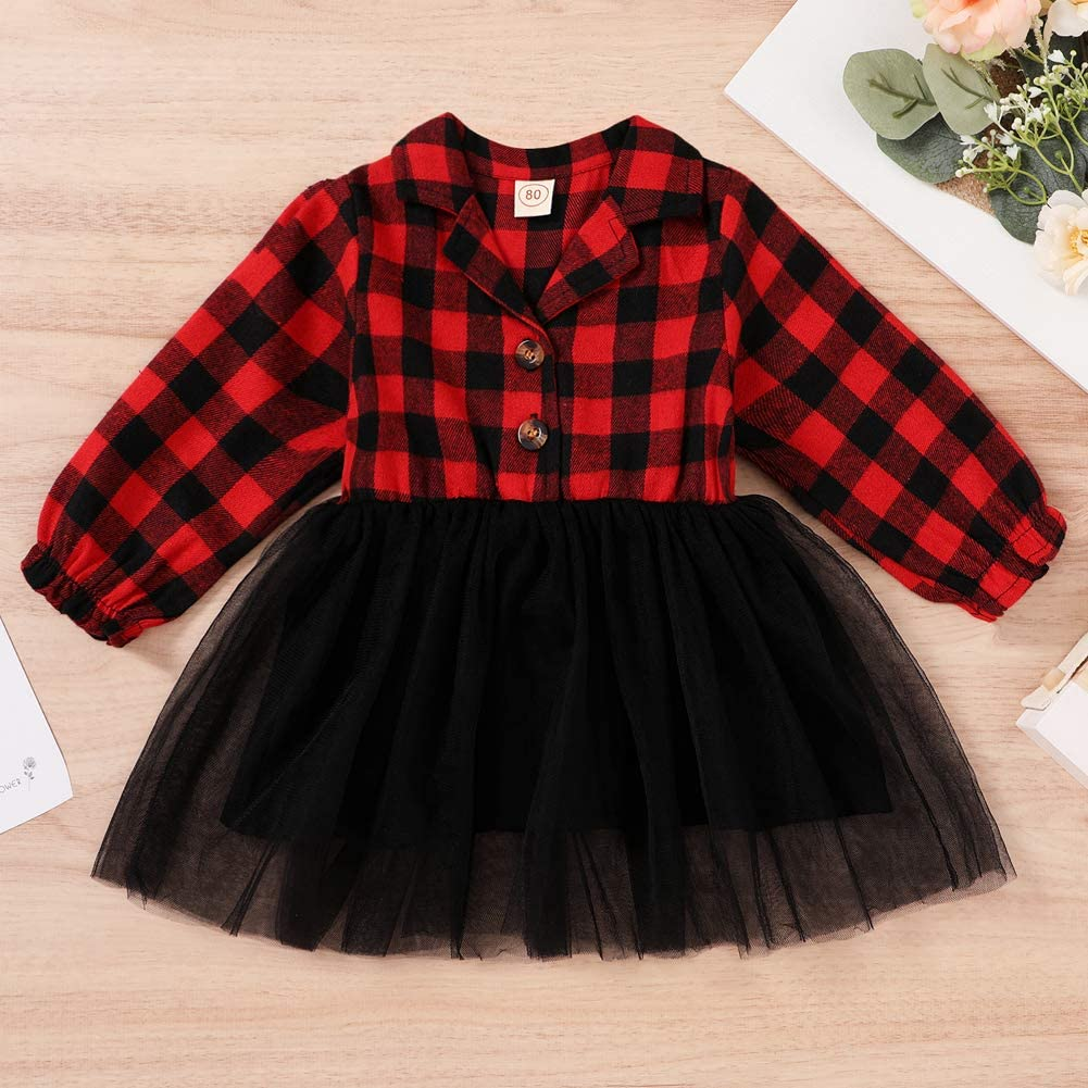 Toddler Baby Girl Outfits White Long Sleeve Playwear Tops Plaid Tutu Skirt Fall Outfit Party Princess Dress