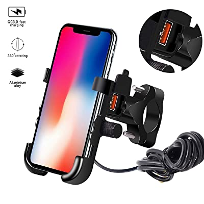 TURN RAISE 2 in 1 Waterproof Motorcycle Phone Mount with USB Charger, Bike Phone Holder with Quick Charge 3.0 USB Charger, Handlebar Cradle Holder for 4'' to 7'' Smartphone/GPS/Mobile Devices: Automotive