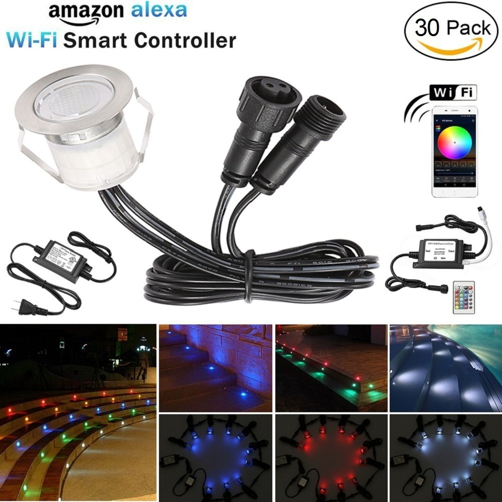 LED Deck Lights Kit, 30pcs Φ1.18'' WiFi Wireless Smart Phone Control Low Voltage Recessed RGB Deck Lamp In-ground Lighting Waterproof Outdoor Yard Path Stair Landscape Decor, Fit for Alexa,Google Home