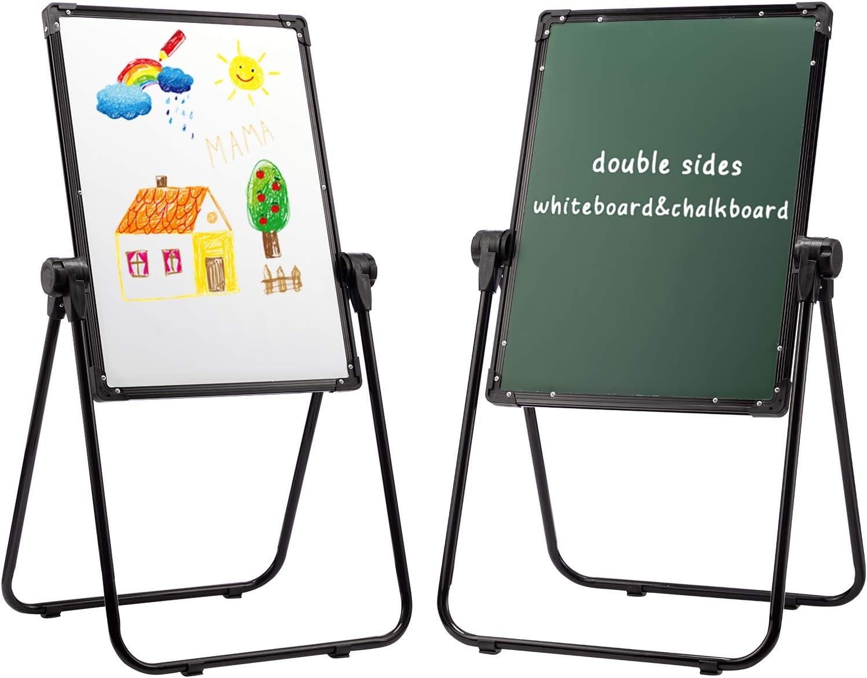 DOEWORKS Pizarra Infantil Caballete para niños Pizarra Blanca y Pizarra Pizarra Magnetica Infantil, Altura Ajustable & 360°Rotación con Conjunto Completo, Negro