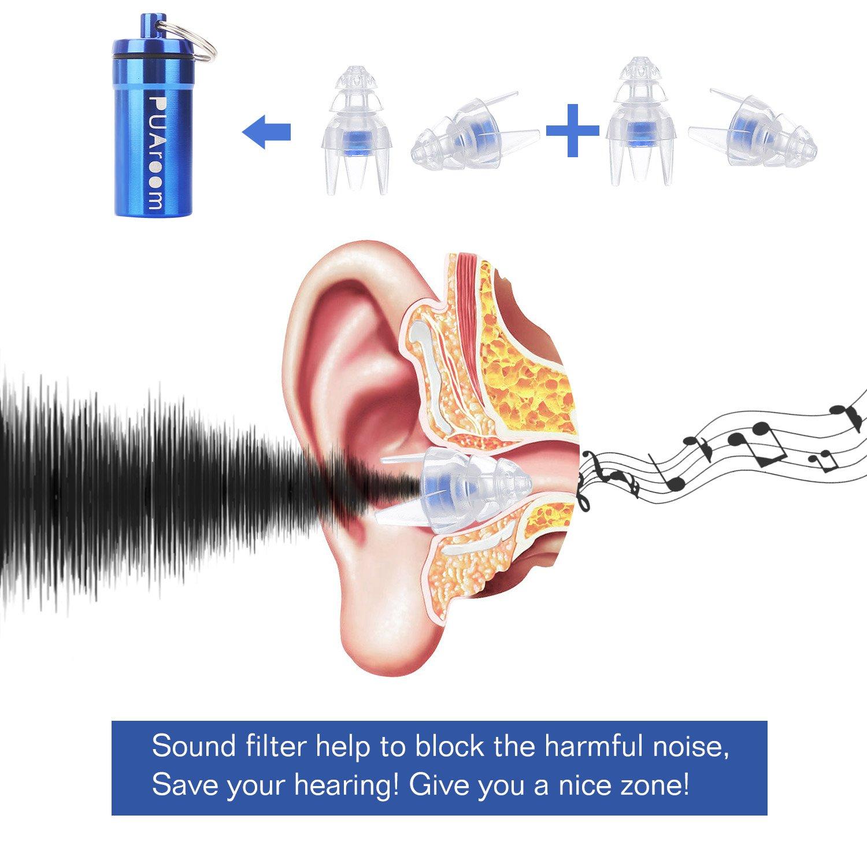 2 paires de bouchons en silicone souples r/éutilisables avec r/écipient en aluminium gratuit concert bouchons doreille pour musiciens PUAroom MusicFun Protections auditives