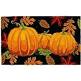 """DII Indoor/Outdoor Natural Coir Easy Clean Rubber Back Entry Way Doormat For Patio, Front Door, All Weather Exterior Doors, 18 x 30"""" - Fall and Halloween Pumpkins"""