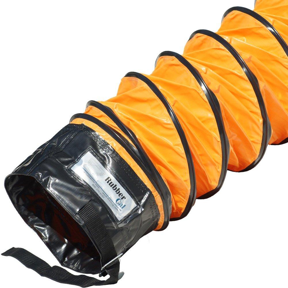 Rubber-Cal 01-191-8''Air Ventilator Orange'' Ventilation Duct Hose - 8''ID x 25' Length Hose (Fully Stretched)