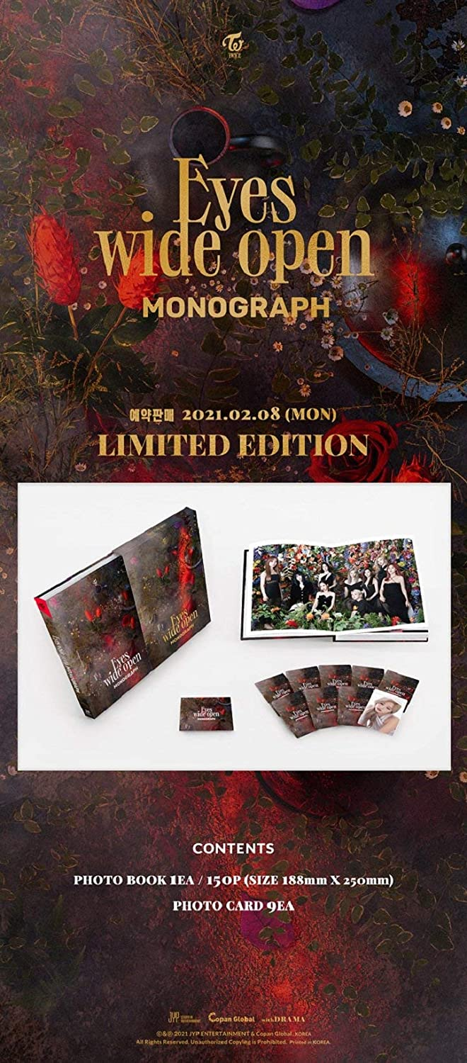 Twice Eyes Wide Open Monograph Limited Edition 150p PhotoBook+9p PhotoCard+Message PhotoCard Set+Tracking Kpop Sealed