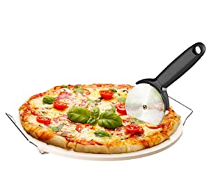 """Chef's Star 15"""" Ceramic Pizza Stone and Pizza Cutter with Chrome Plated Serving Rack"""