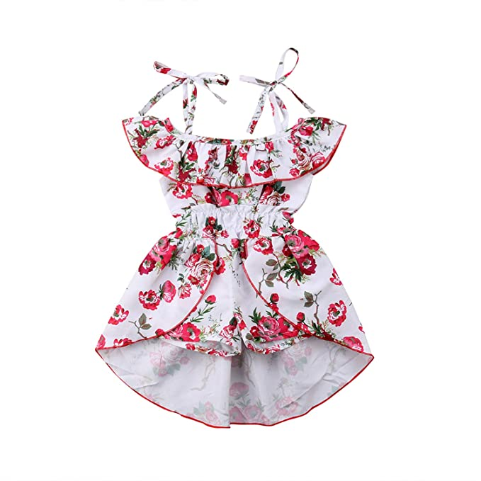 e72612a8576c Floral Toddler Kids Baby Girl Off Shoulder Romper Sleeveless Strap Ruffle  Skirt Patchwork Jumpsuit Playsuit Sunsuit