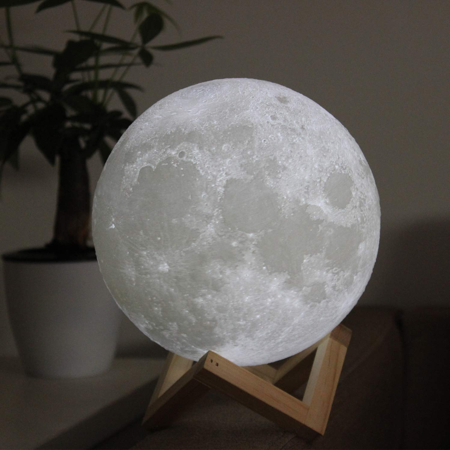 ACED LED Lighting Mysterious 3D Printing Moon Lamp LED Night Light Moonlight Desk Lamp Two Colors Changing Touch Stepless Dimming with USB Port, Rechargeble, Festival Decorative Lights 5.9Inch(15cm)