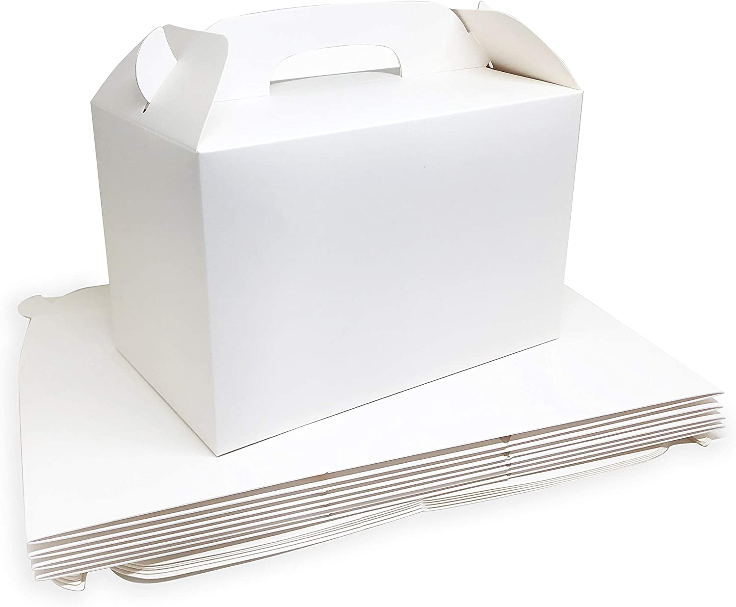 MintieJamie White Treat Boxes 2 Dozen White Boxes for Favor 8.5X5X5.5 Inches Large Handle Favor Boxes, Kids Party Favor Box, Party Box, Birthday Goodies Box, No Assembly Needed