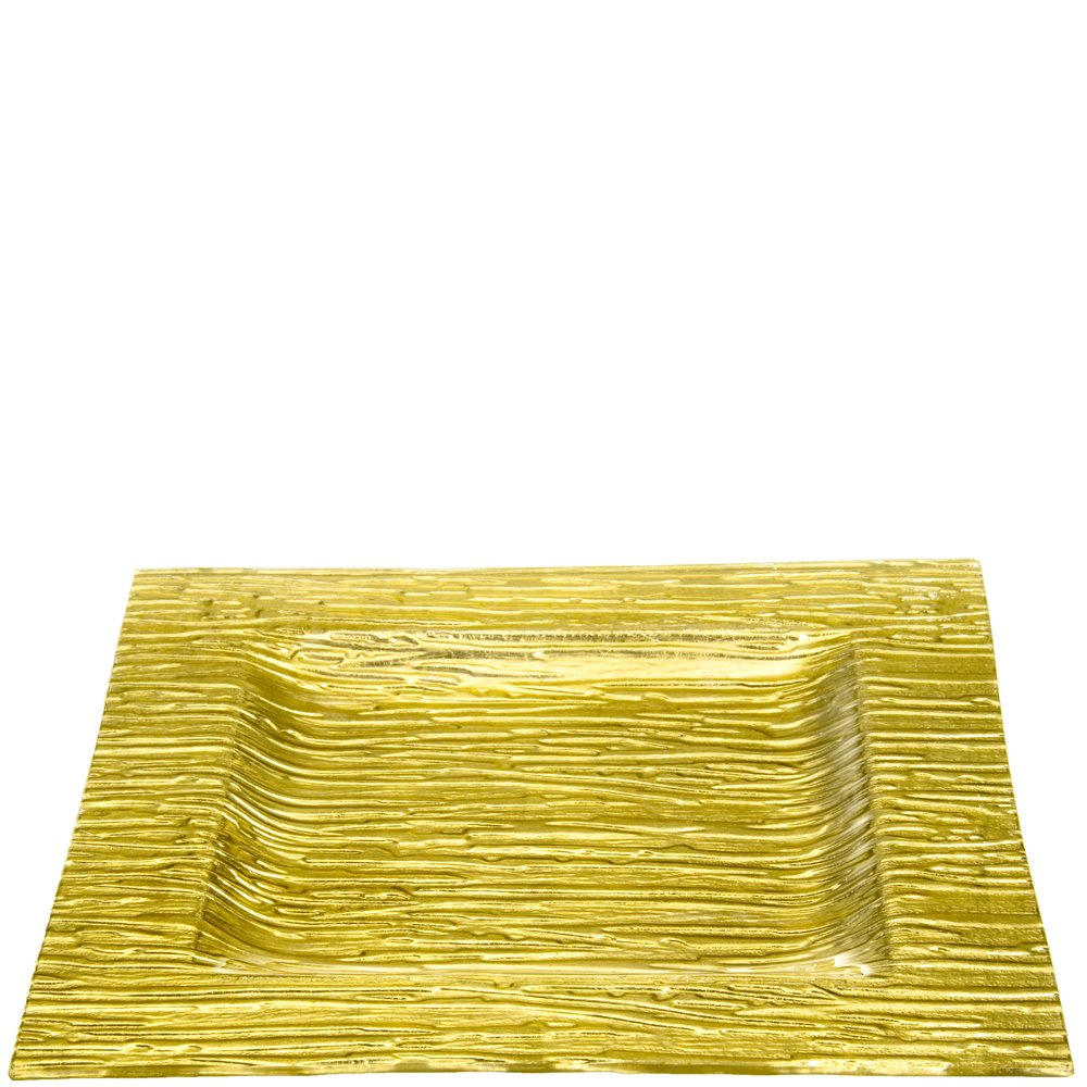 Couronne Company 2066MG Monterrey Square Recycled Glass Plate 12 Gold 1 Piece