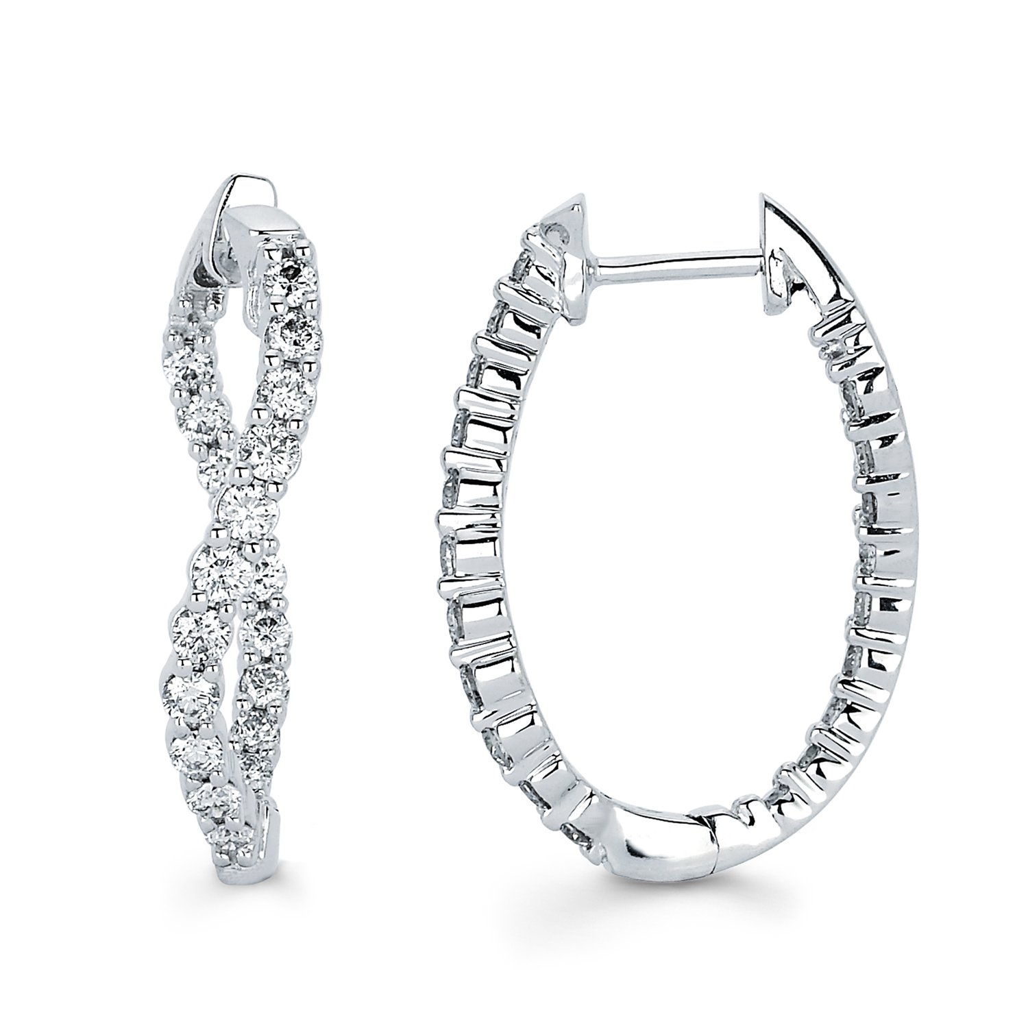 14K White Gold Diamond Twisted Inside-Out Hoop Earrings (1.50 cttw., I Color, I1 Clarity) 1''