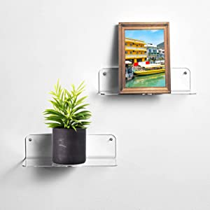 LALASTAR Small Acrylic Floating Wall Shelves, Adhesive Display Shelf for Bedroom, Dorm, Hanging Bedside Shelves, 9 Inch Shelves for Wall, Set of 2, Clear