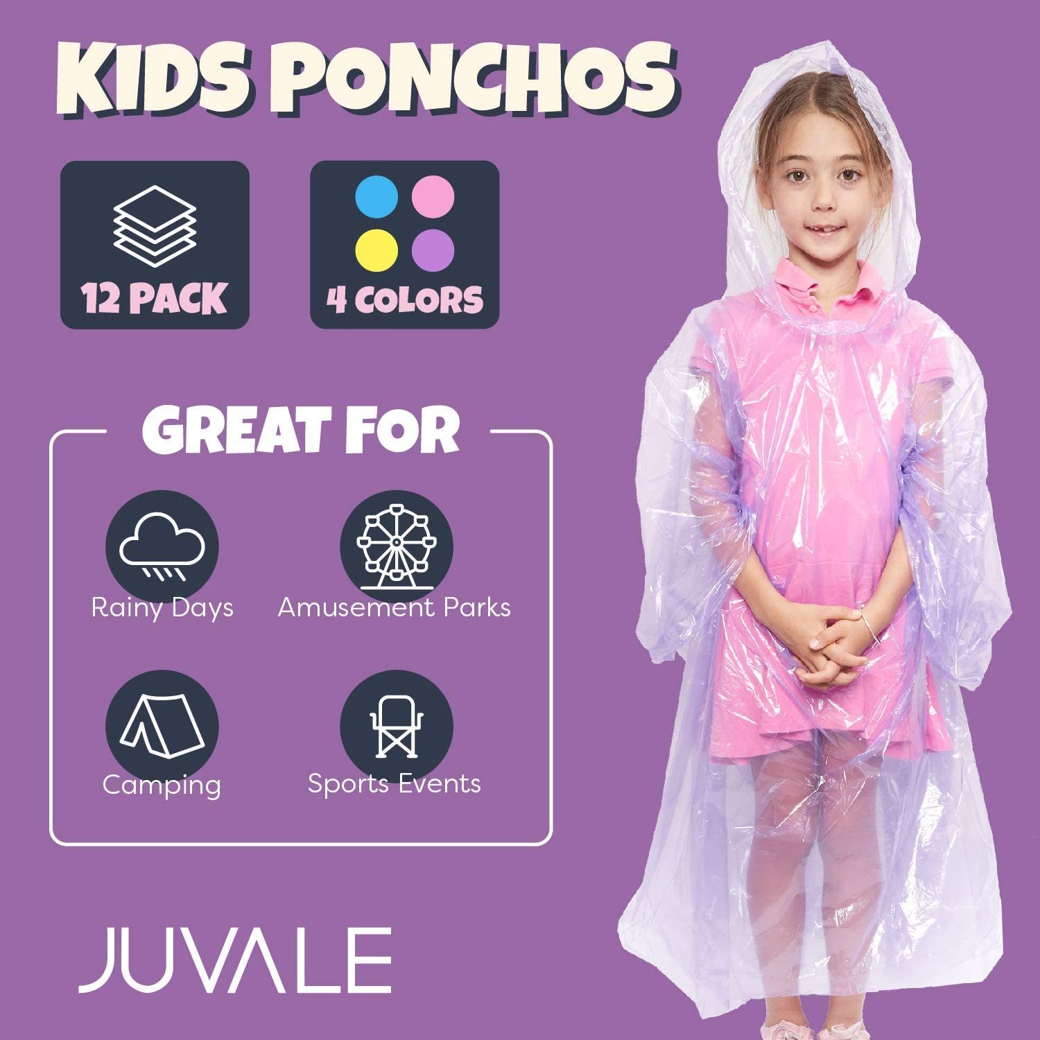 - Light Blue Yellow Purple 12-Pack Pink Kids Disposable Emergency Rain Ponchos with Hood
