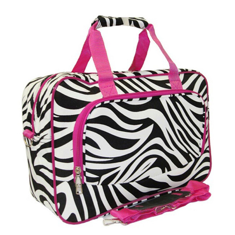Fuchsia Pink Lightweight Softsided Duffle Bag Zebra Pattern Polyester Material