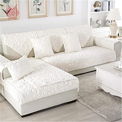 Magnificent Amazon Com White Grey Floral Quilted Sofa Cover Plush Long Gamerscity Chair Design For Home Gamerscityorg