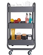 DESIGNA Metal Rolling Storage Cart 3 Tiers Utility Mobile Organization Cart with Handles Suitable for Office Home Kitchen or Outdoor Gray