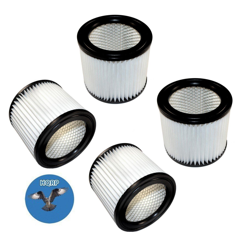 HQRP 4-pack Cartridge Filter for Shop-vac QPMH450 QPMH500 QMH45A QSH30 QSH35 QPSH300 QPSH400 952-02 95202 HangUp Series Wet/Dry Vacuum + HQRP Coaster