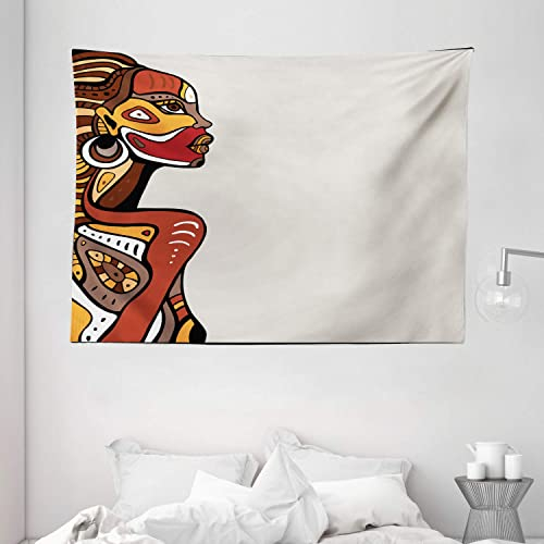 Ambesonne African Tapestry, Profile of a Lady with Different Tattoos on Her Body and Face Print Art Design, Wide Wall Hanging for Bedroom Living Room Dorm, 80 X 60 , Redwood Cream