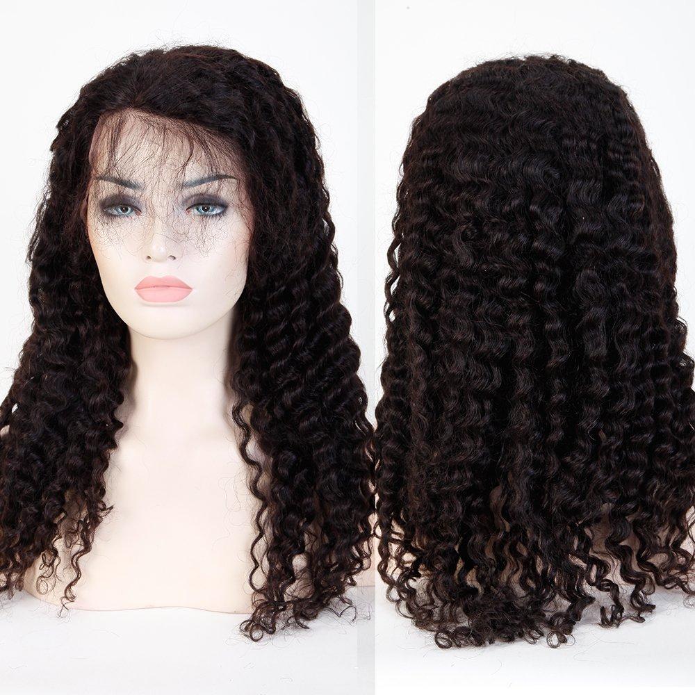 Peluca natural de color negro, sin pegamento en el frente, con encaje, pelucas brasileras de pelo humano con rulos y ondas profundas con pelo de bebe ...