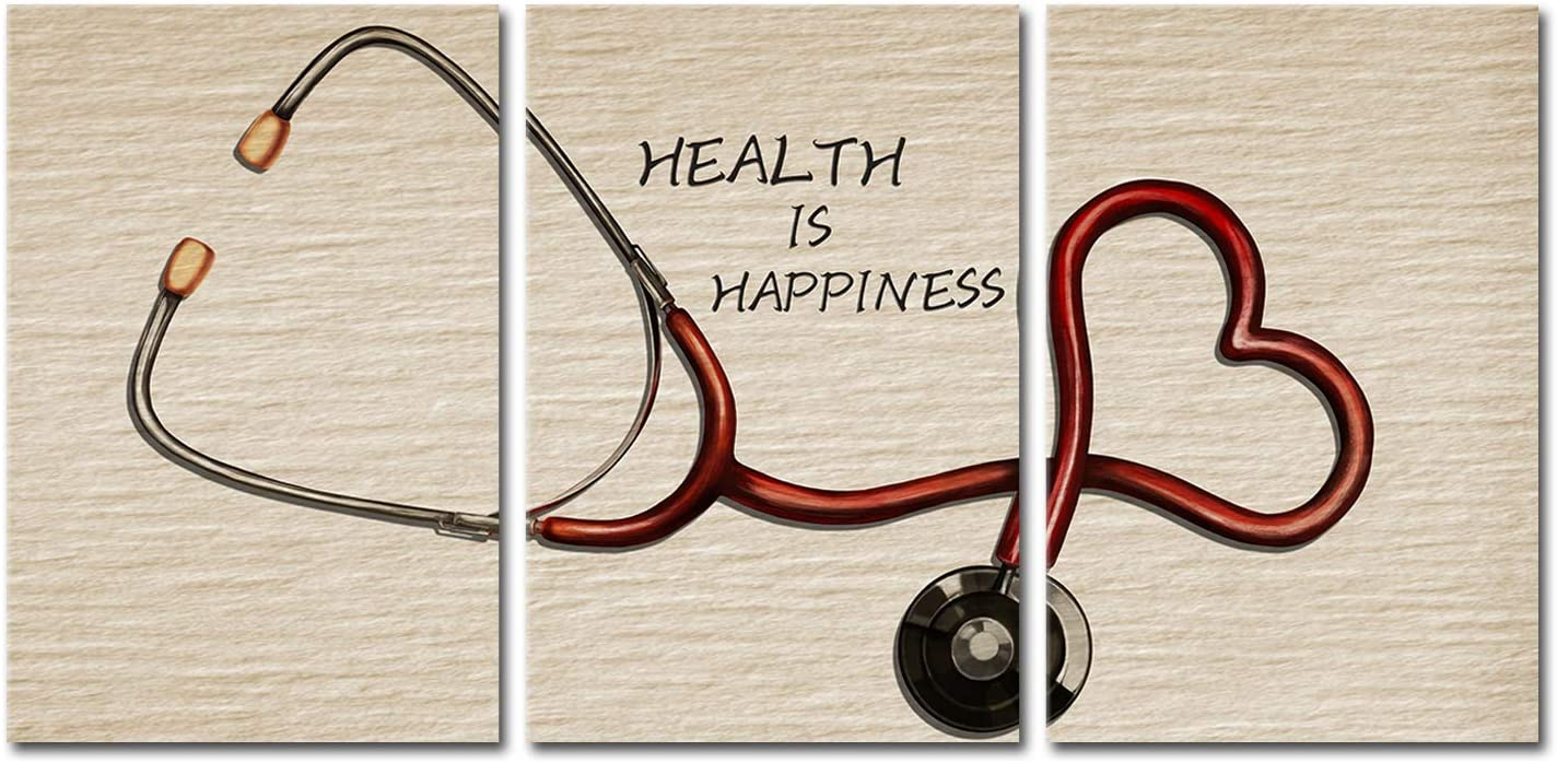LoveHouse Canvas Wall Art for Clinic and Hopistal Health is Happiness Motivational Quotes Artwork Doctor Office Wall Decor Painting Pictures Giclee Print Stretched Nurse Day Gift 16x24inchx3pcs