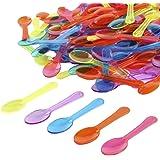 "Gmark 200pc 3"" Colored Taster Spoons Plastic Mini Spoons Multi-Color, Assorted Ice Cream Spoons Dessert Spoons White 1 Box Set GM1002C"