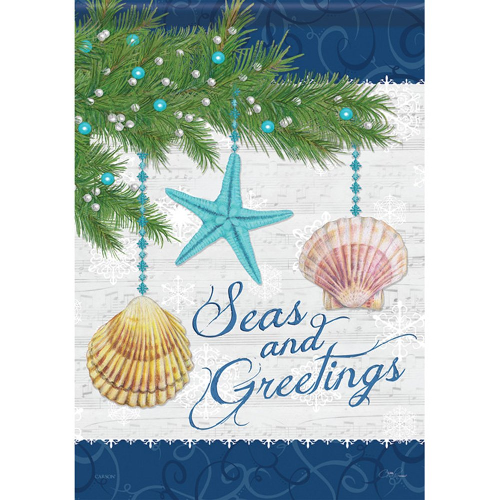 Amazon.com : Seas & Greetings Holiday House Flag Nautical Christmas ...