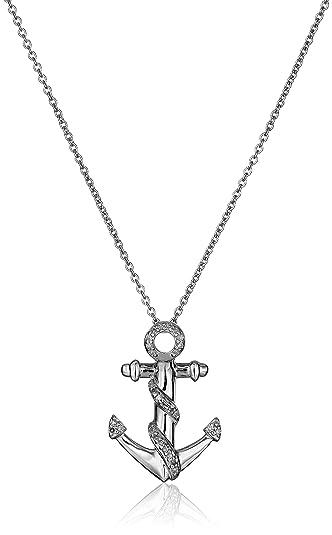 Amazon sterling silver diamond anchor pendant necklace 110 sterling silver diamond anchor pendant necklace 110 cttw i j color i2 aloadofball Choice Image