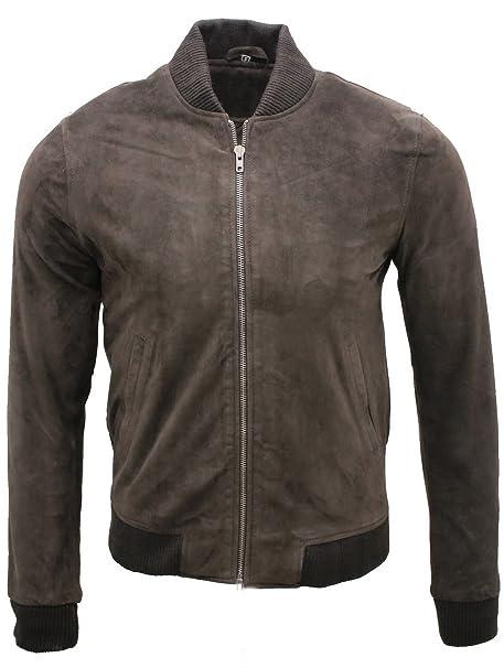 Mens Retro Black Goat Suede Leather Bomber Varsity Jacket