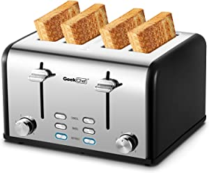Toaster 4 Slice, Geek Chef Stainless Steel Extra-Wide Slot Toaster with Dual Control Panels of Bagel/Defrost/Cancel Function, 6 Toasting Bread Shade Settings, Removable Crumb Trays, Auto Pop-Up (Sliver-Black)