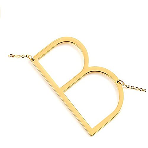 Gmai Women's Classic Stainless Steel Big Letter Necklace Initial Chain Script Pendant Name Necklace Sideways large Initial Necklace for Women Gift(Gold Letters A-Z Available)