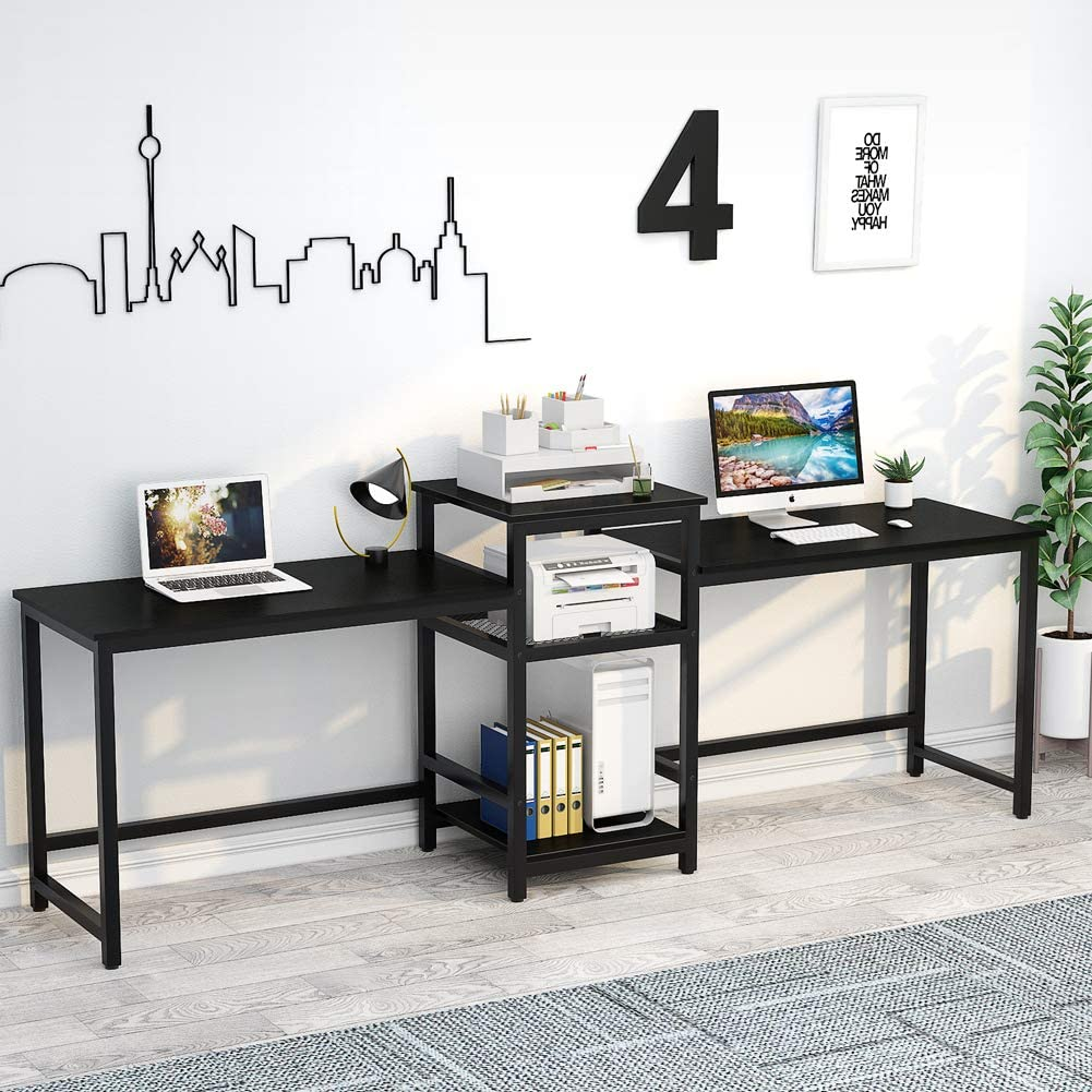 """Tribesigns 96.9"""" Double Computer Desk with Printer Shelf"""