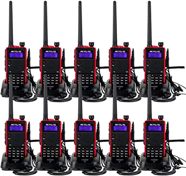 Retevis RT5 Two-Way Radio Long Range Dual Band VHF UHF 128 CH Walkie Talkies VOX DTMF FM Radio 1750Hz Handheld Transceiver 10 Pack