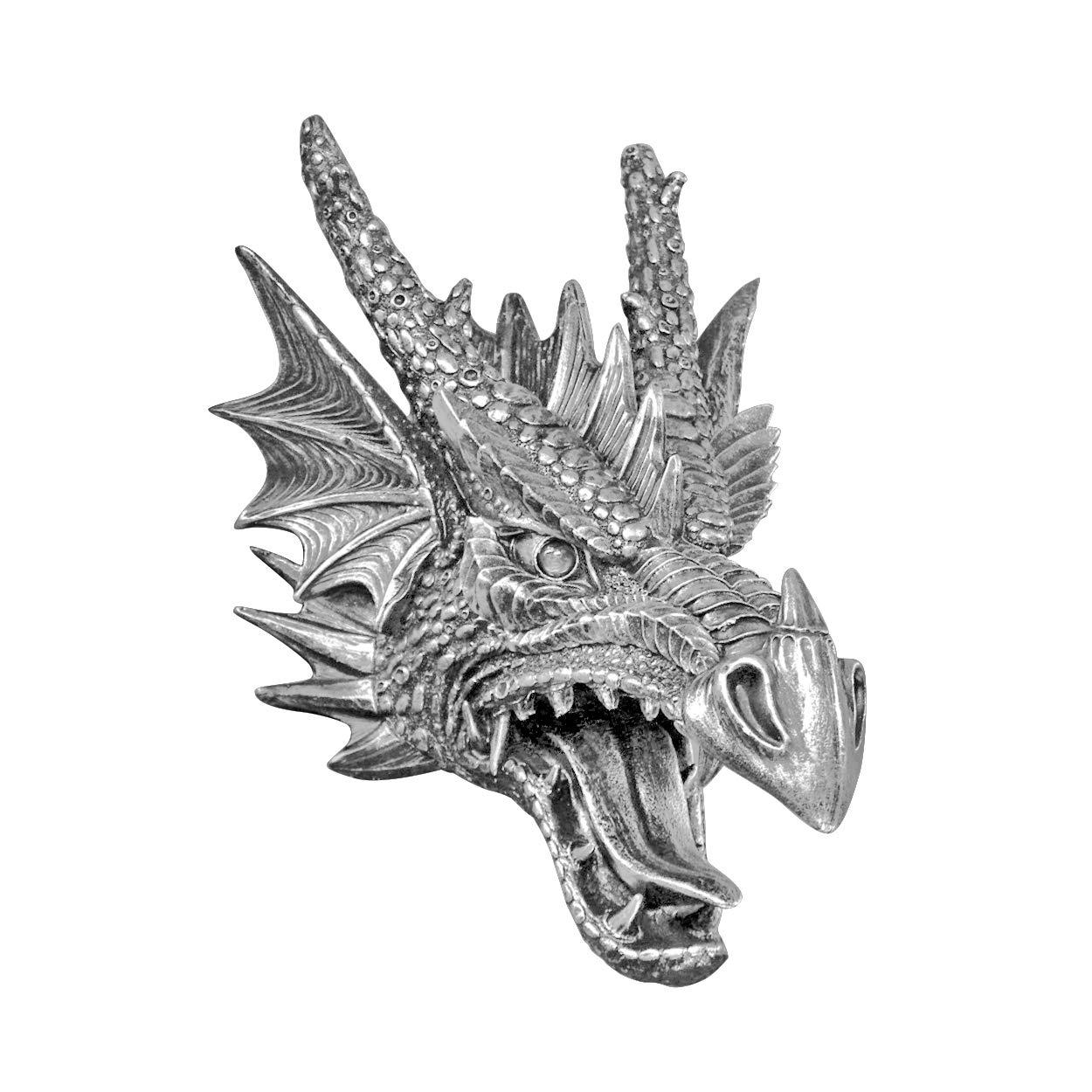 Silver Faux Dragon Head Wall Hanging