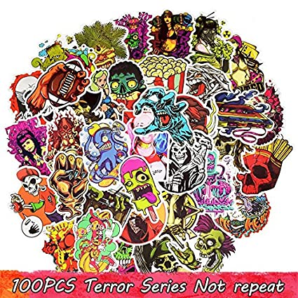 100 Unds friki pegatinas stickers diseños modelo 4 TERROR mix para patinetes, mandos consola,
