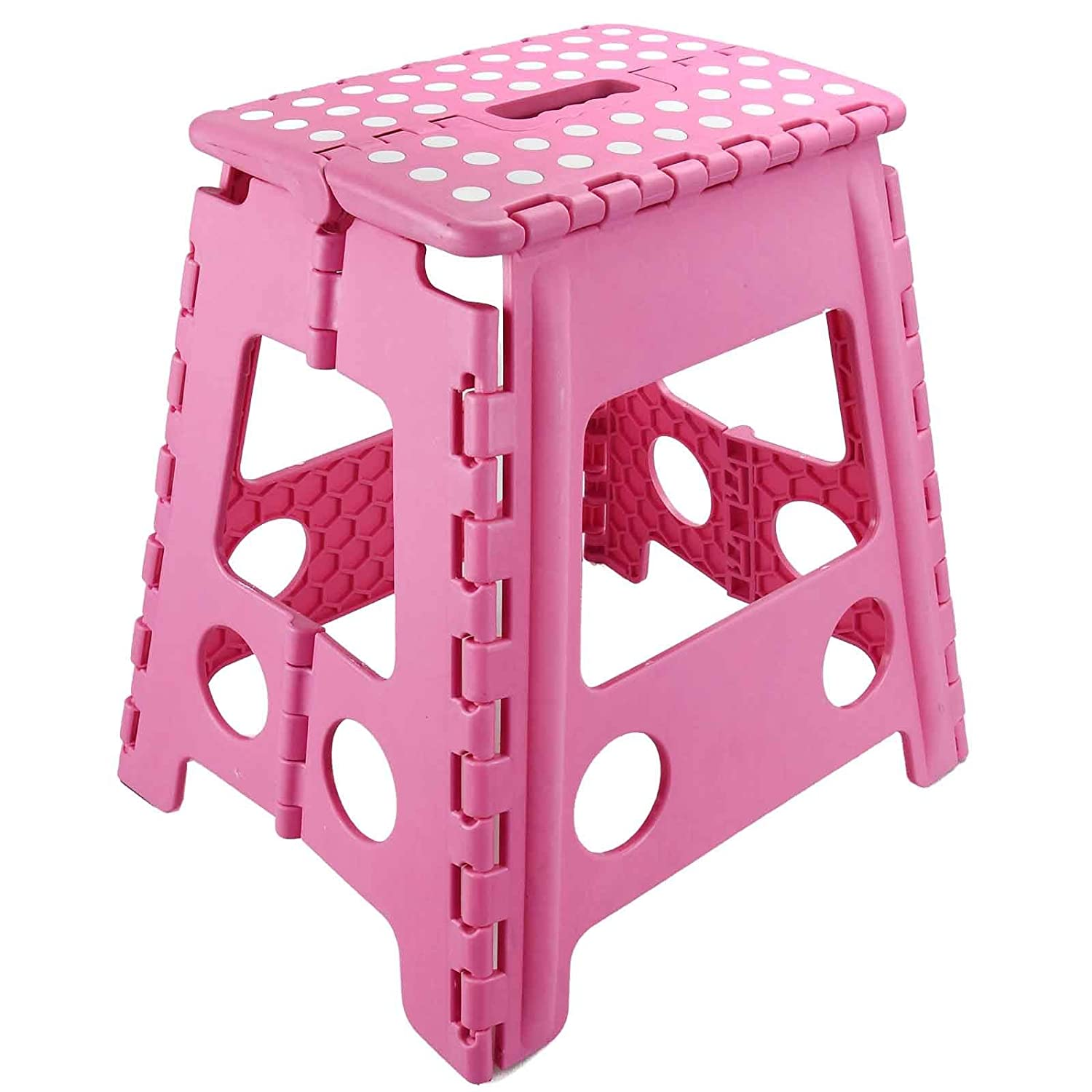 ASAB Large Folding Foot Step Stool Multi Purpose Plastic Foldable Easy Storage Home Kitchen - Pink
