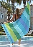 Fouta Hamamtuch xxl 'Casablanca' | Leichtes Strandtuch 200x200 oder 100x190cm | 100% Baumwolle, Hochwertige Qualität, sehr weich | Original nur von ZusenZomer (100x190cm, Türkis, blau und grün)