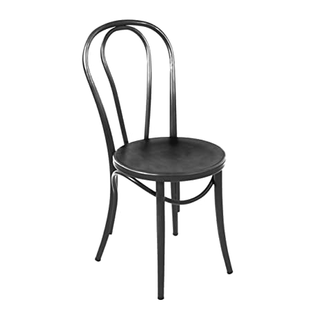Design Lab MN Thonet Style Steel Side Chair, Set Of 2, Black