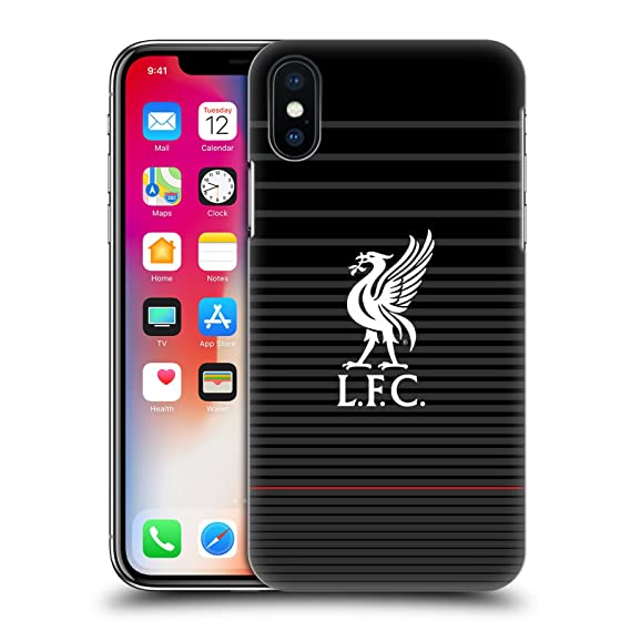 Official Liverpool Football Club White On Black Kit Liver Bird Hard Back Case Compatible for iPhone X/iPhone Xs