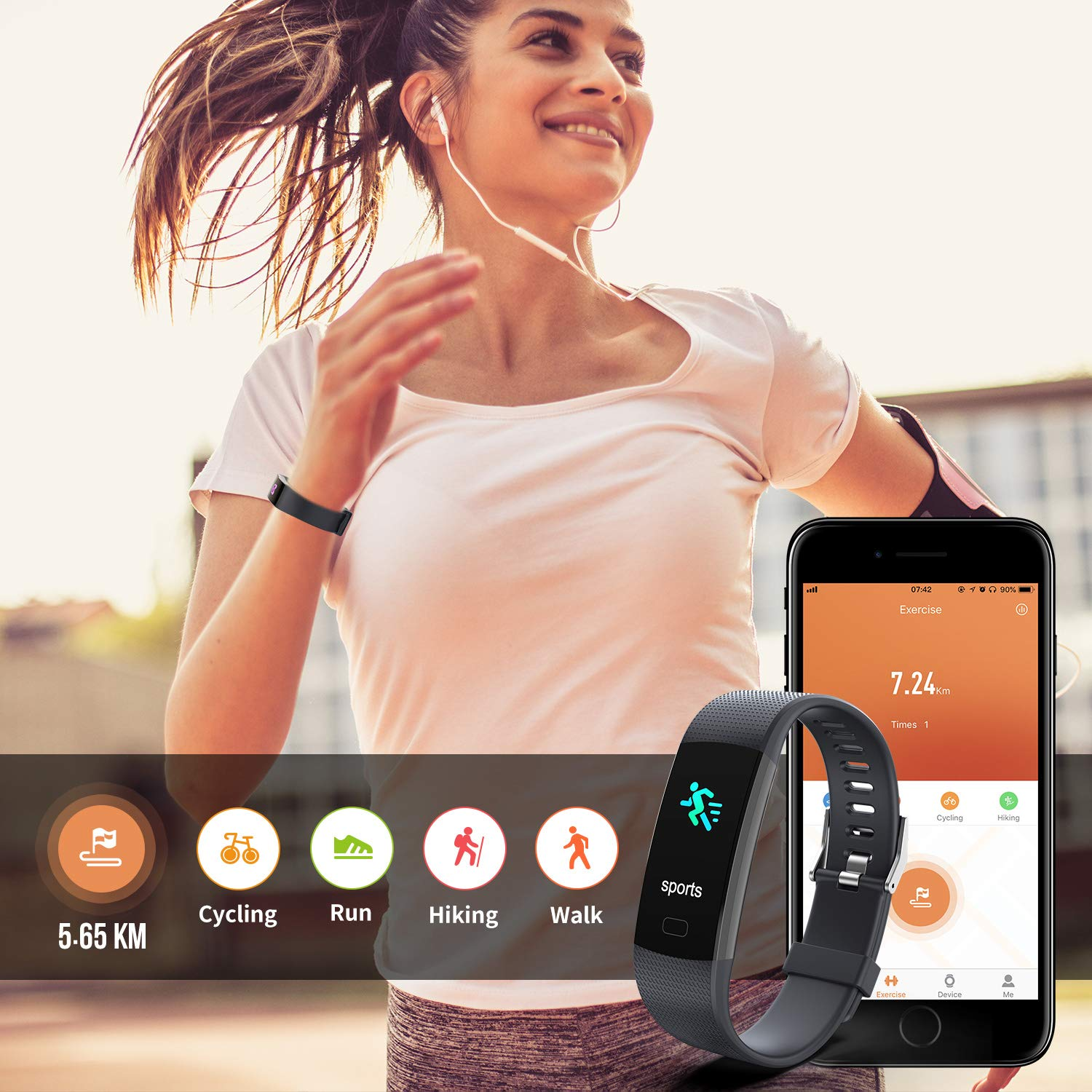 Fitness Tracker HR, Y1 Activity Tracker Watch with Heart Rate Monitor, Pedometer IP67 Waterproof Sleep Monitor Step Counter for Android & iPhone (Midnight Black) by Akuti (Image #3)
