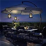 GIGALUMI 2 Pack Solar Power LED Hanging Lantern