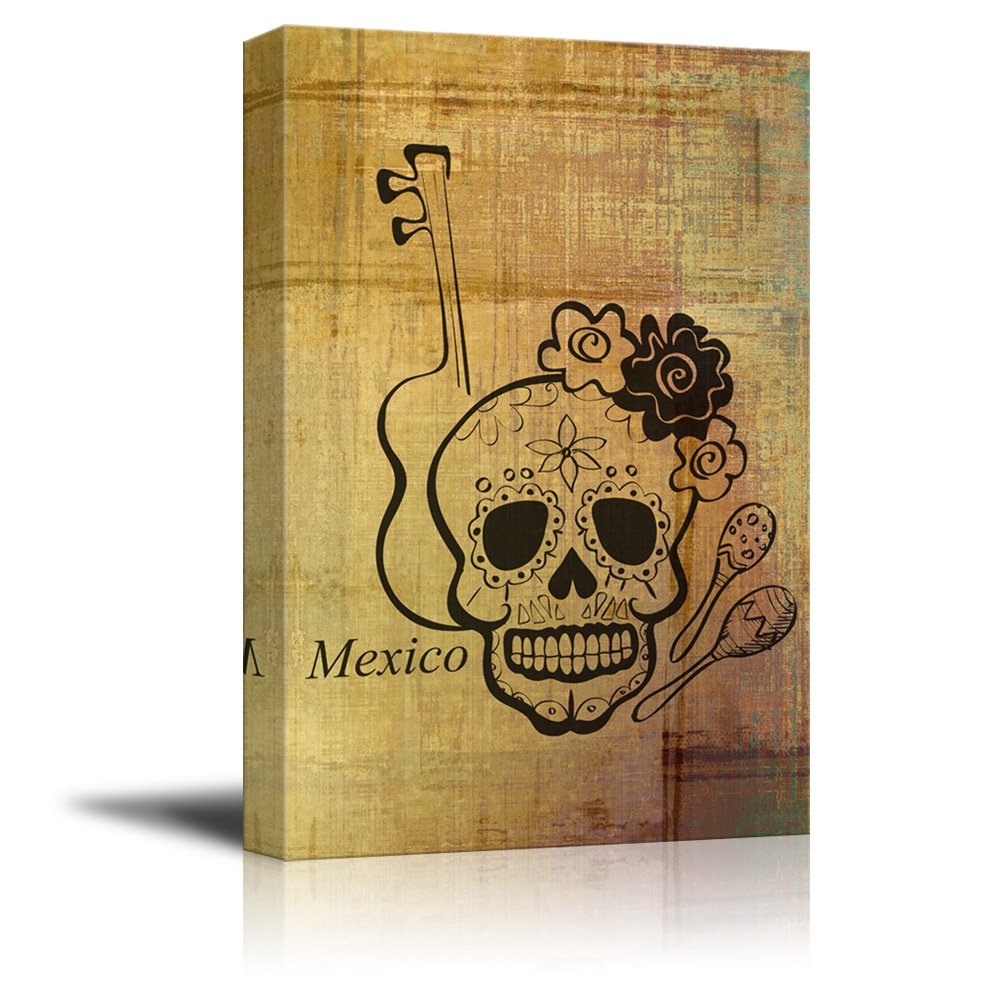 Print Skull with Flowers and a Guitar - Canvas Art | Wall26