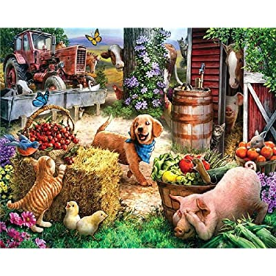 YIPINQUAN Jigsaw Puzzles 1000 Pieces for Adults and Kids Cat, Dog, Pig, Small Animal on The Farm Wooden Puzzle Educational Toys Home Decor Wall Art: Toys & Games