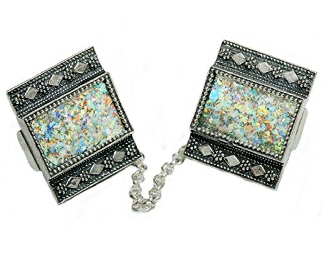 Baltinester Ancient Roman Glass Prayer Shawl Clip With Yemenite Jewelry Design