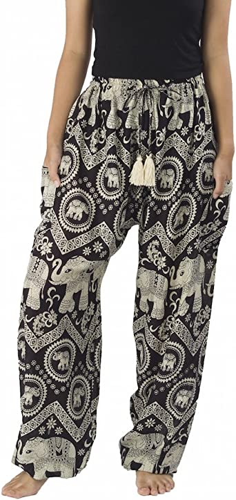 Mandala Flower Print Elastic Waist Loose Casual Pants Ladies Summer Wear Daily Wear Women Yoga Harem