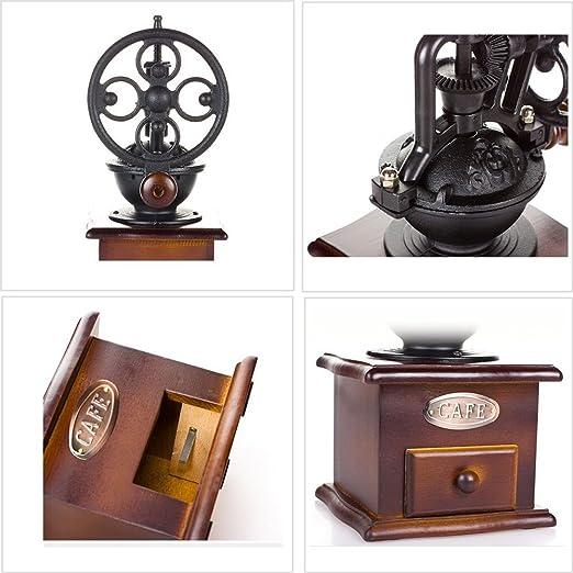 DecentGadget® máquina de café en grano puro caja de recogida de polvo de café de madera estilo vintage molinillo de café mano molino de café con núcleo de ...