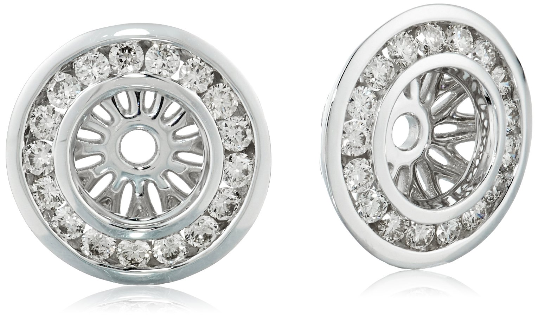 14k White Gold Diamond Channel Halo Earrings Jackets (1/2 cttw, J-K Color, I2-I3 Clarity)