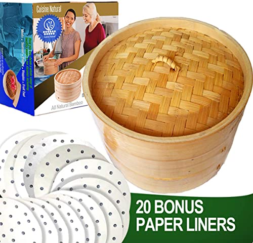 Cuisine-Natural-Bamboo-Steamer-2-Tiers-&-Lid